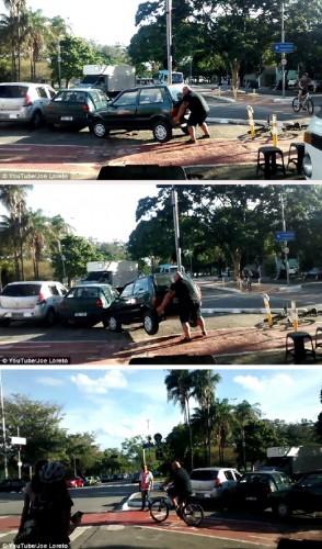 Strongman Pindahkan Kereta Halang Laluan Basikal