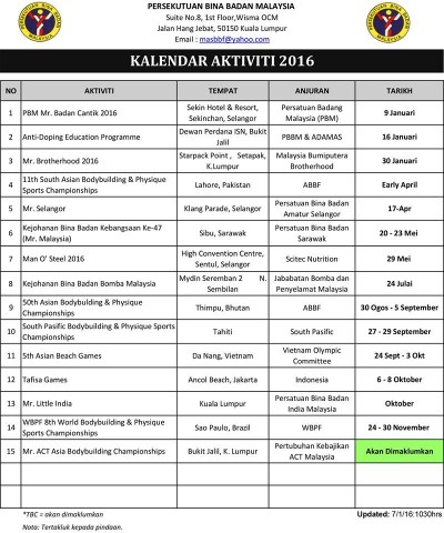 Kalendar Bina Badan 2016