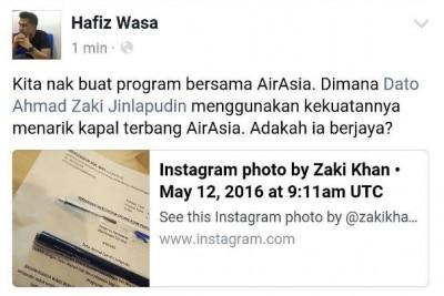 Zaki Khan tarik Air Asia